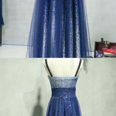 A-Line Straps Sequined Long Prom/Ev..