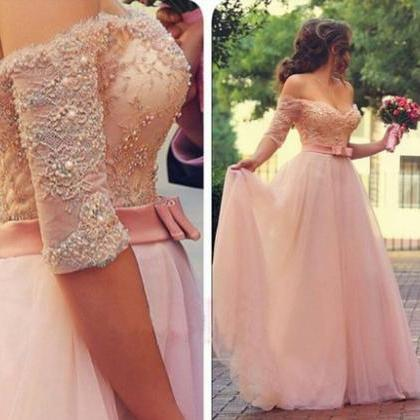 Long sleeve lace prom dress, pink p..