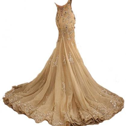 Gold Prom Dress,Lace Prom Dress,Sex..