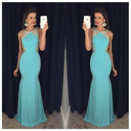 Blue Prom Dress,Mermaid Evening Dre..