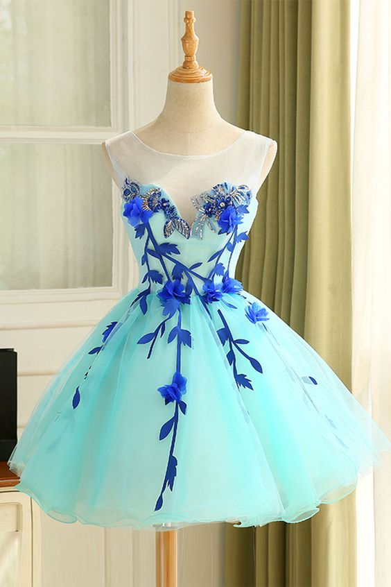 169308c5d4f7 Cute Blue Tulle Short Prom Dress