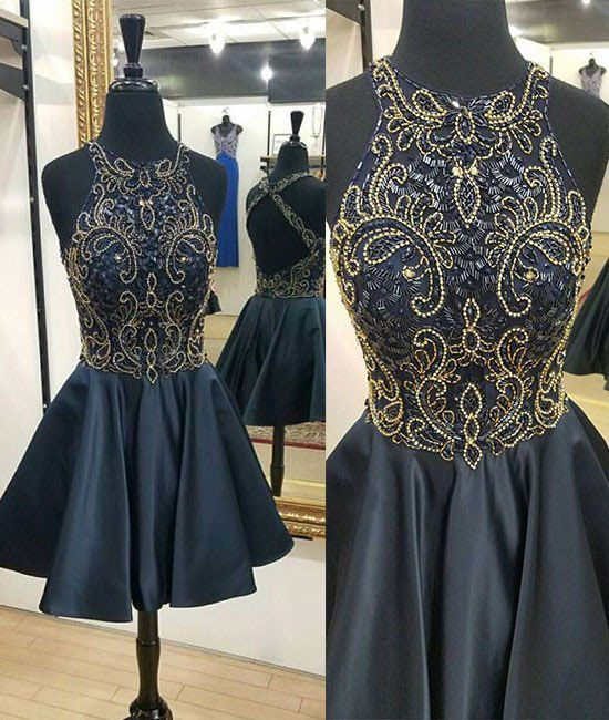 4ea4775e7c Cute A-Line Round Neck Navy Blue Short Homecoming Dress With Beading ...