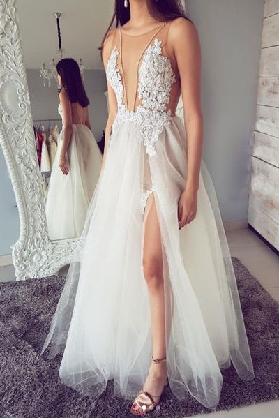 01150b0d24e White Round Neck Tulle Lace Long Prom Dress