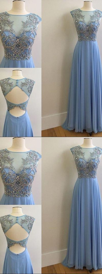A-line Bateau Floor-length Sleeveless Chiffon Prom Dress/Evening Dress,