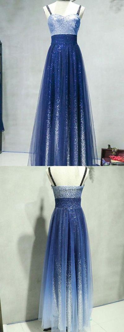 A-Line Straps Sequined Long Prom/Evening Dress
