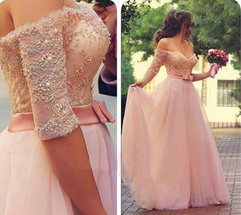 Long sleeve lace prom dress, pink prom dresses, long prom dresses, prom dresses
