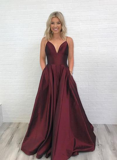 Charming Burgundy V-Neck Long Prom Dress with Pockets,Backless Evening Dress