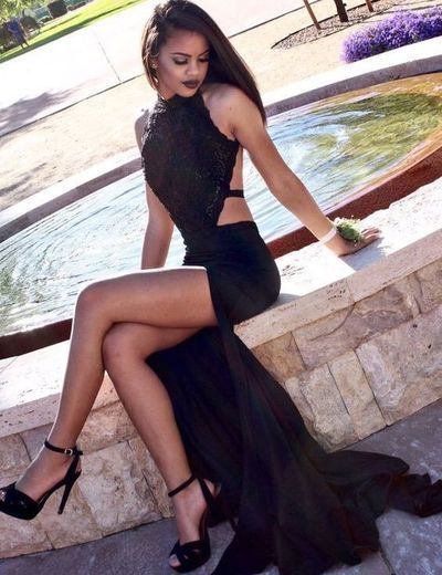 Sexy Halter Lace Prom Gowns Split Side Black Backless Prom Dress Party Gown