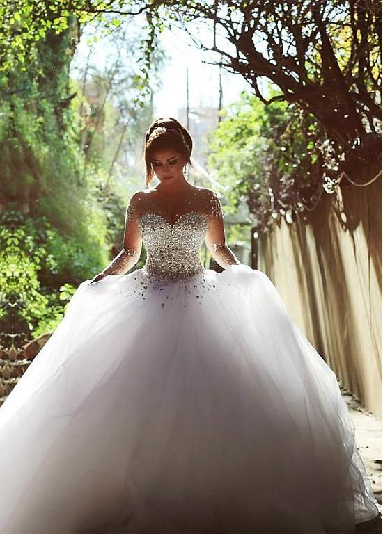 ed743a136ad91 Beaded Embellished Sweetheart Long Mesh Sleeves Floor Length Tulle Wedding  Gown