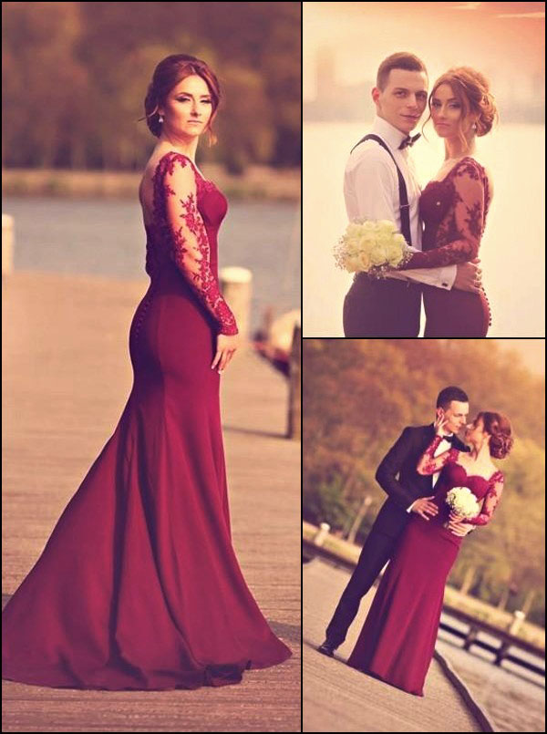 2a78af643d9 Gorgeous mermaid Sweetheart Long Sleeve Burgundy Prom Dress With Lace  Appliques