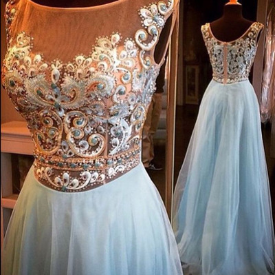 Charming Prom Dress,Blue Prom Dress,Long Prom Dresses,Evening Gown,Formal Dress