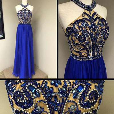 Charming Prom Dress,Royal Blue Chiffon Prom Dress,Long Prom Dresses,New arrival Evening Gown,Formal Dress