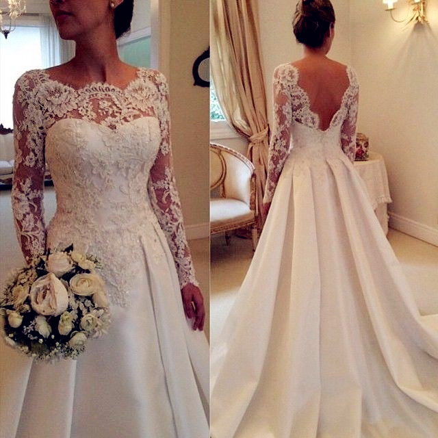 e5e1fcd407c4d Lace Bateau Neck Long Mesh Sleeves Floor Length Wedding Dress Featuring  Plunge V Back and Train