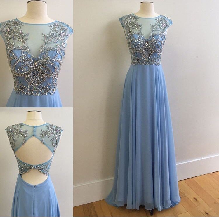 6cda2cd4c6 Modest Prom Dress,Light Blue High Neck Prom Dresses,Chiffon Prom Dress, Beading Prom Dress,A line Evening Dress,Formal Women Prom Dress,Long Prom  Dress