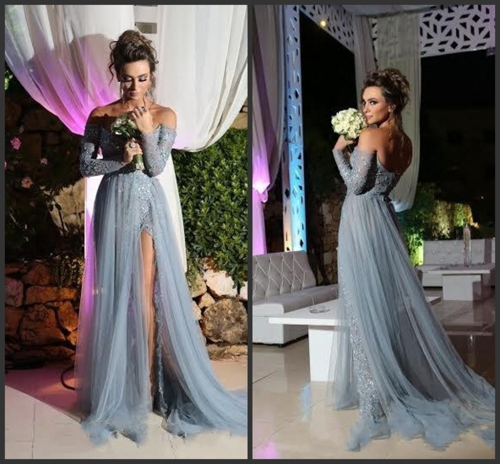 Grey Prom Dress A line Long Sleeve Tulle Party Evening Gowns Elegant Slit  Applique Sexy V 998bff74d