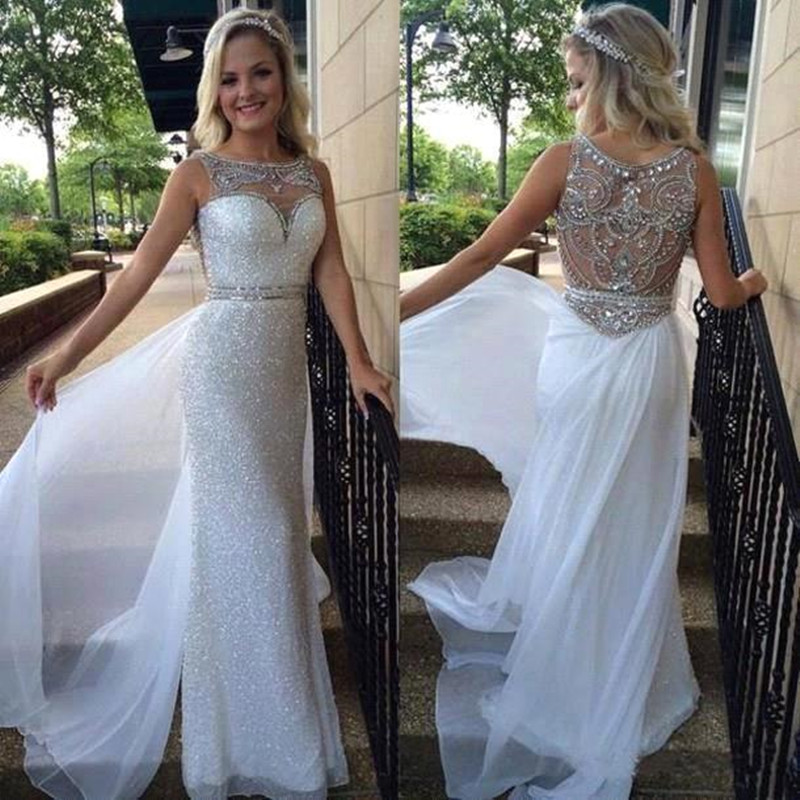 Prom Dresses,white Evening Gowns,sequins Prom Gowns, 2017 Evening ...