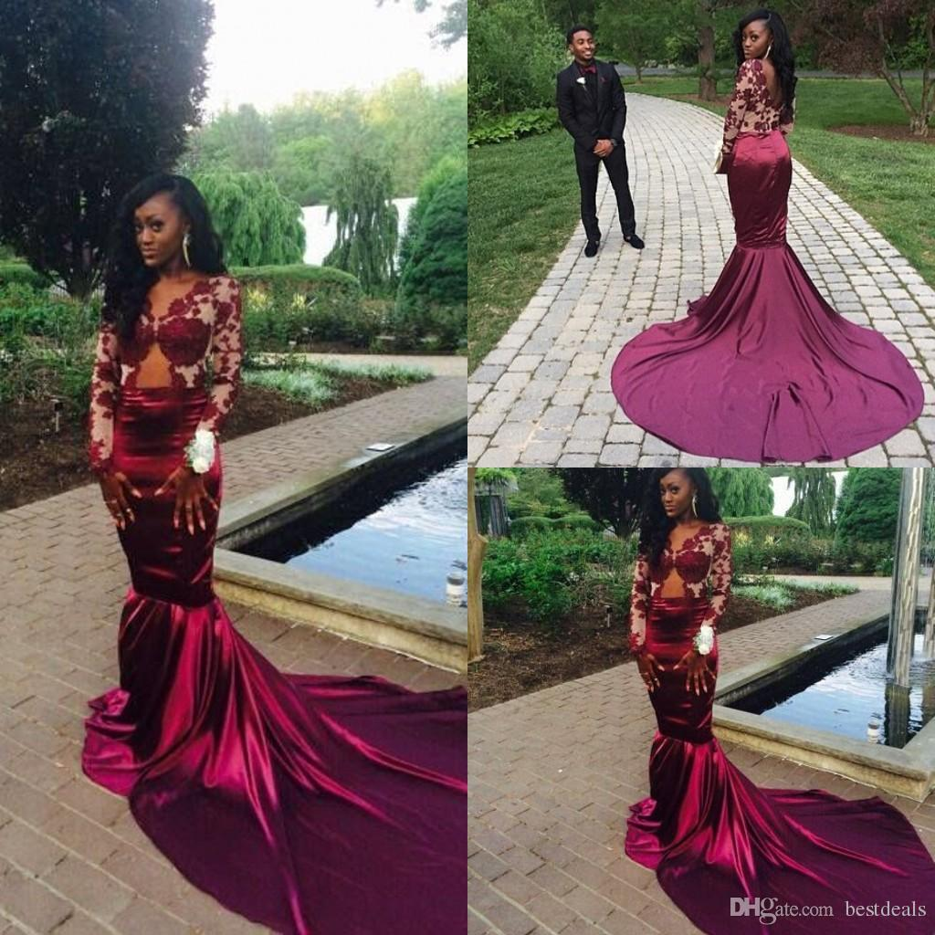 Gorgeous mermaid Long Sleeve Burgundy Prom Dress With Lace Appliques modest evening  gowns 6ad837141975