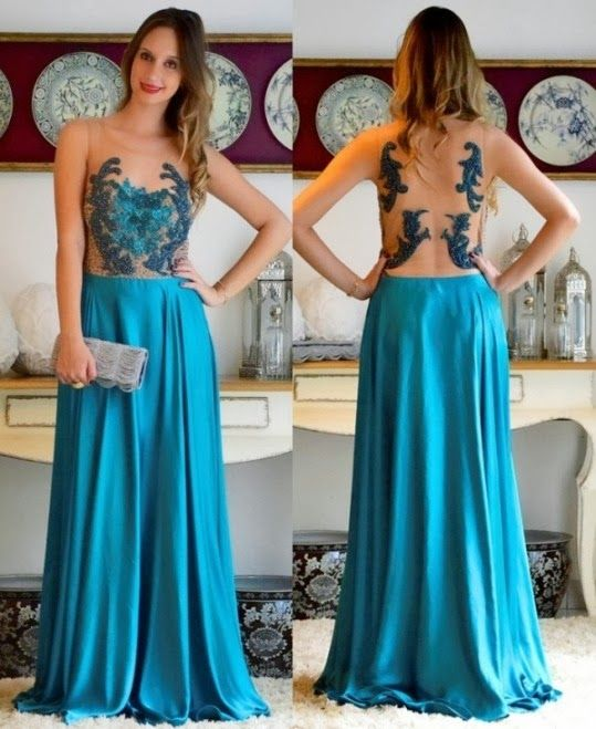 Beautiful A Line Prom Dresses New Blue Lace Floor Length Party