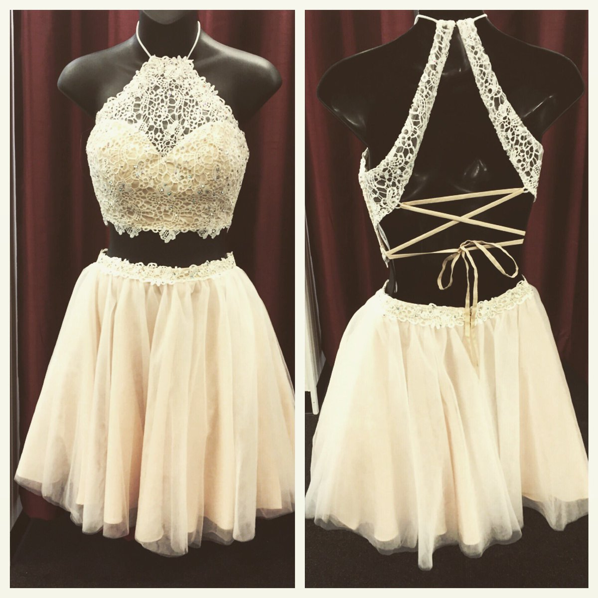 954cb07b740fe Homecoming Dresses,Two Pieces Short Prom Dresses,Backless Homecoming Dresses ,Lace Homecoming Dress