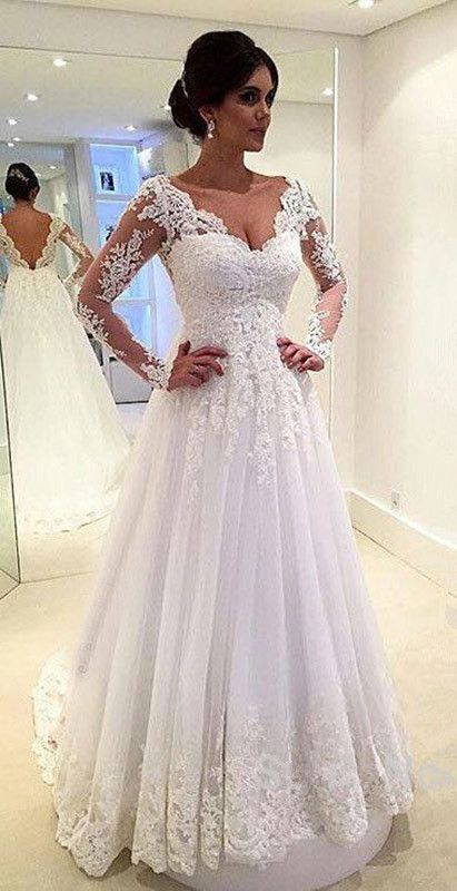 White Ivory Lace Wedding Dresses Long Sleeve Dress Sheer Back 2017