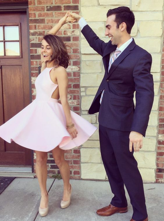 Homecoming Dresses,Pink Prom Dresses,Satin Homecoming Dresses,Short ...