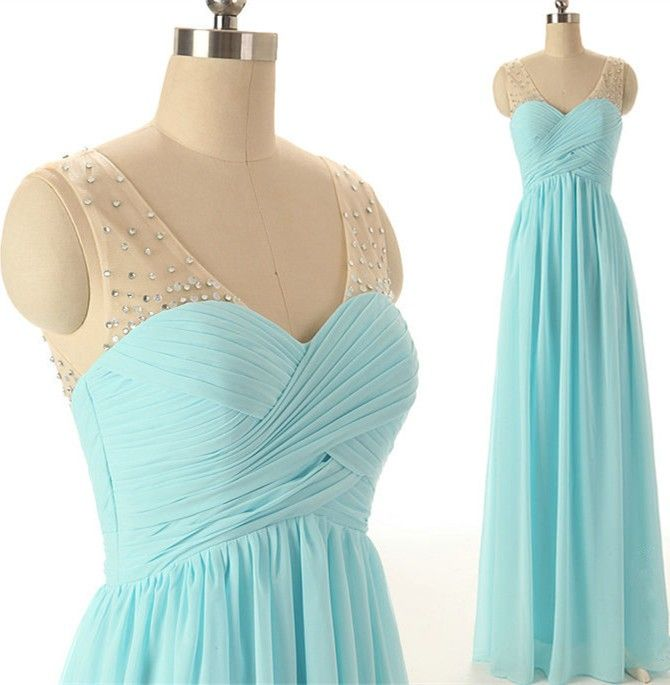 079c91bf4e7 Light Blue V-Neck Sleeveless Sheer Ruched Chiffon A-line Floor-length Prom