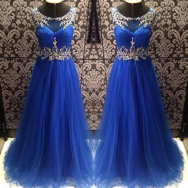 Long Dress prom dresses,evening gowns,tulle prom gowns,royal blue prom gowns,new style fashion prom gowns