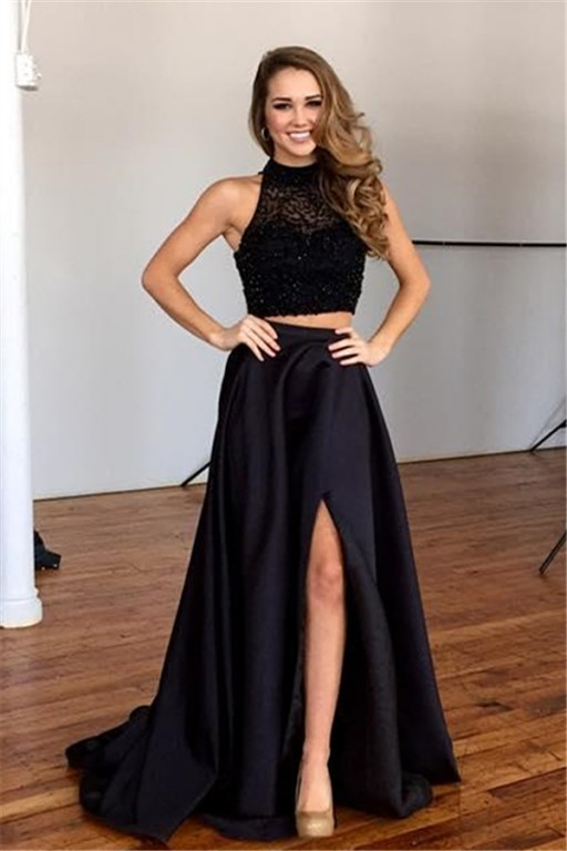 Long Prom Dresses,2 Pieces Evening Gowns, 2 Piece Prom Gowns,black ...