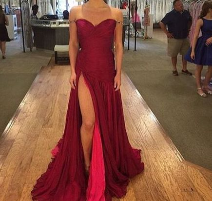 a673f5eced1 Burgundy Chiffon Off-The-Shoulder Sweetheart Floor Length A-Line Prom Dress  Featuring