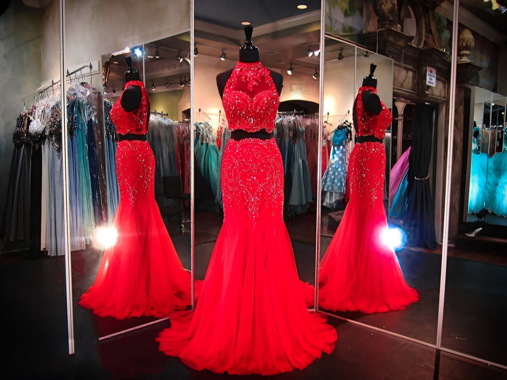 Modest Prom Dressesred Prom Dressestwo Piece Prom Dress Modest