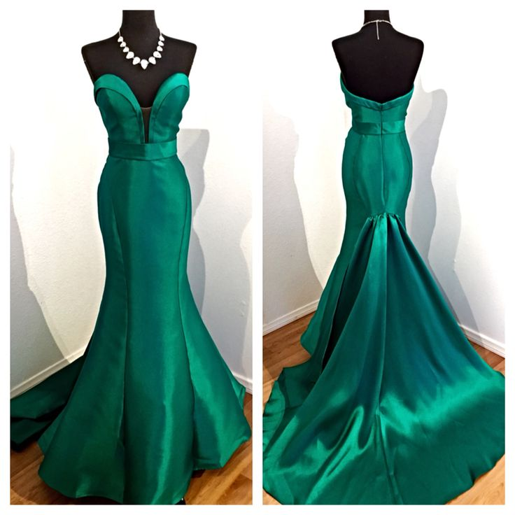 Green Sweetheart Plunging V Mermaid Long Prom Dress 446df904a091