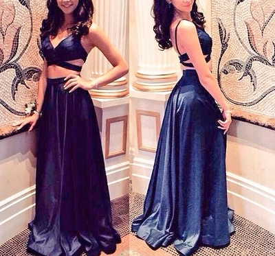 Two Piece Navy Blue Prom Dresses2 Piece Prom Dresses2 Pieces Prom