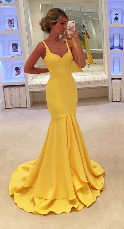Prom Dress,Sexy Prom Dress, Yellow Prom Dresses,Vintage Yellow Evening,Prom Dress