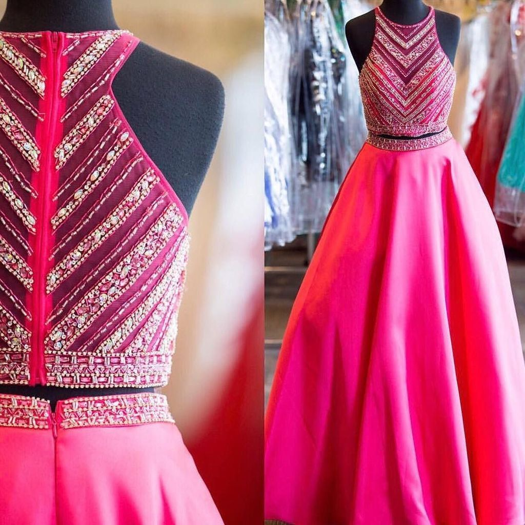 Hot Pink Prom Dresses, Prom Dresses,Two Piece Prom Dress, Modest ...