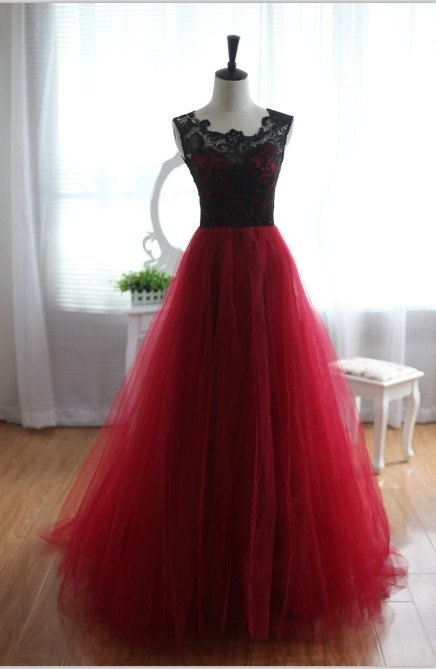 prom dresses,lace evening gowns,lace prom gowns,evening dress,Tulle party gowns,burgundy prom gowns