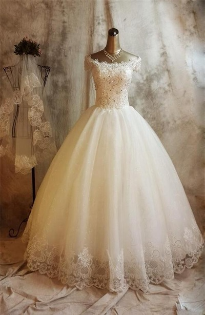 Beaded Embellished Lace Off-The-Shoulder Floor Length Tulle Wedding Gown