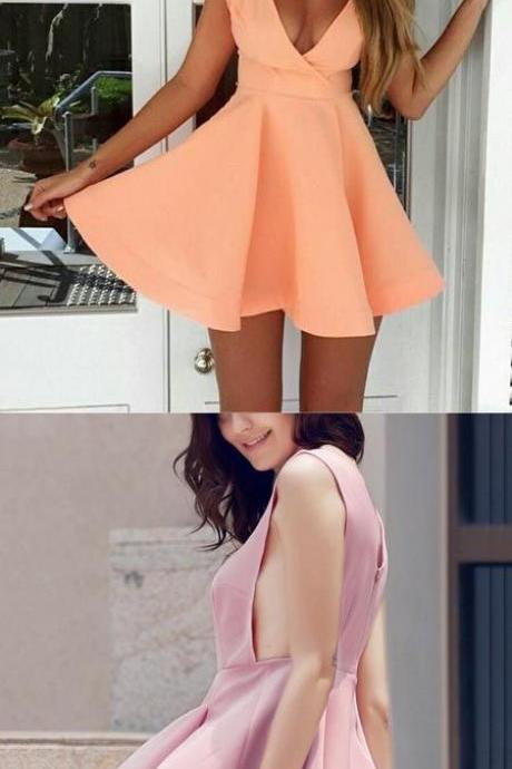 Custom Made Orange Plunge V Neck Simple A Line Homecoming Dress with Wide Arm Hole