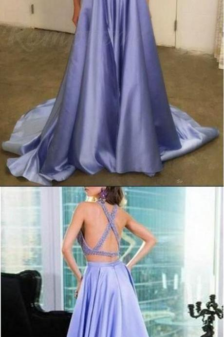 Two Piece evening dress,sexy ball gowns, custom made ,new fashion, Halter Keyhole Beaded Satin A Line Elegant Lavender Long Prom Dress