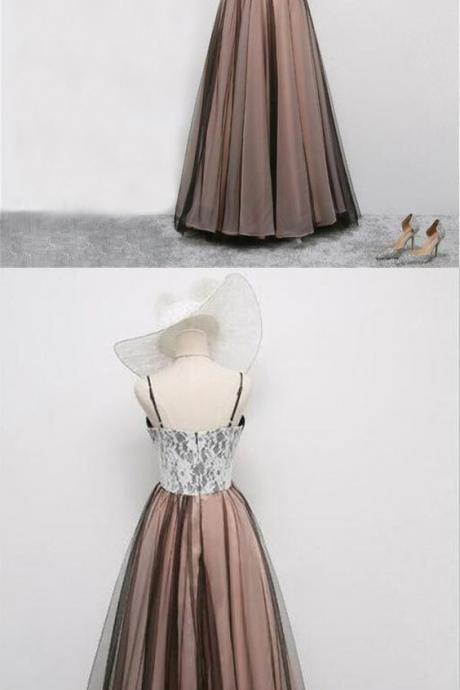 Elegant A-Line evening dress,sexy ball gowns, custom made ,new fashion,Spaghetti Straps Long Prom/Evening Dress With Lace