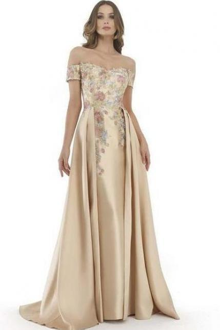 Charming A-Line ,Jewel Sleeveless, Long Prom/Evening Dress With Flower Embroidery ,Floor Length Party Gown, High Quality ,Off Shoulder