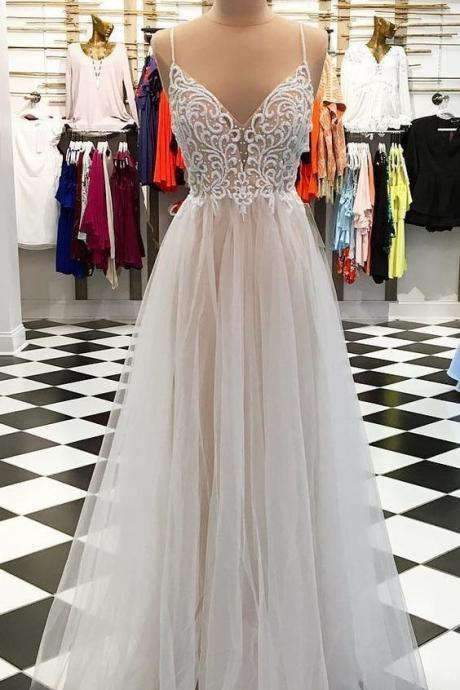 Gorgeous evening dress,sexy ball gowns,custom made prom,Spaghetti Straps party gowns,White tulle formal dressLong Prom Dress