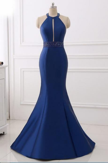 Prom Dress,Sexy evening gowns,sexy prom gowns, custom made prom, Backless Halter Formal Women Evening Wear