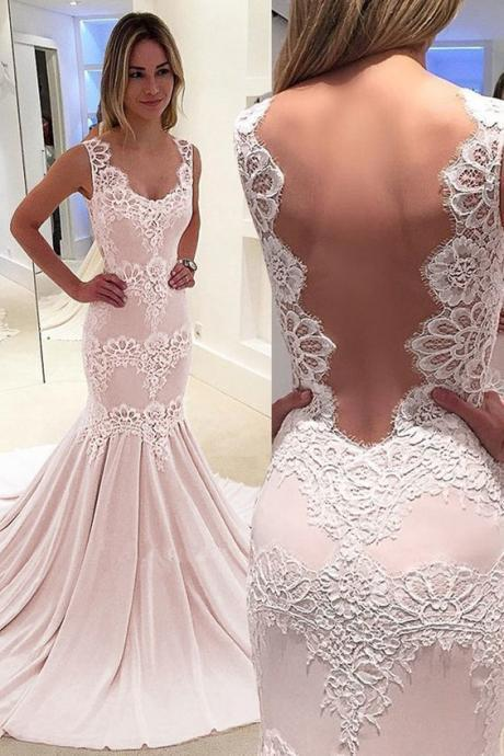 Romantic Chiffon evening gowns,sexy ball gowns, custom made prom,new fashion,Scoop Neckline Mermaid Prom Dress With Lace Appliques