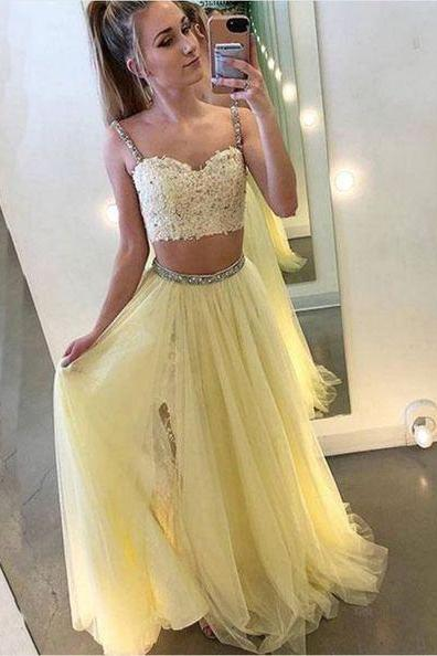 Pale Yellow Two Pieces Prom Dress with Split
