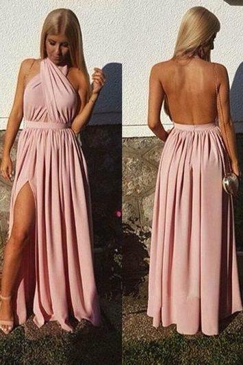 Charming Prom Dress,Sexy Open Back Prom Dresses, Sexy Split Side ,Long Evening