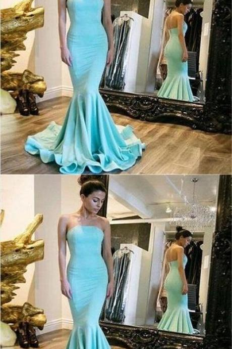 Simple Blue Strapless Open Back Long Mermaid Prom Dresses With Trailing, Prom Dresses