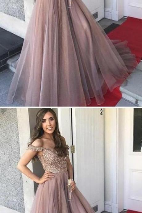 Gorgeous Prom Dresses,Off the Shoulder Prom Gown,Brown Prom Dresses,Long Prom Dress,Beading Prom Dress