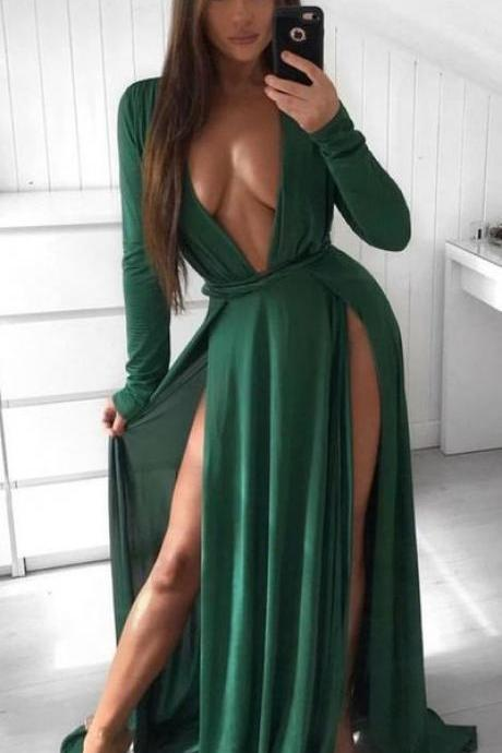 Sexy A-Line V-neck Long Sleeves Split Chiffon Green Prom Evening Dress