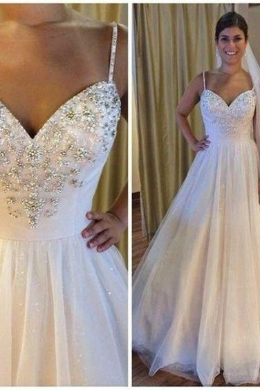 Sweetheart Beaded Wedding Dresses A Line Tulle Wedding Gowns,Fashion Bridal Dress,Sexy Party Dress,Custom Made Evening Dress