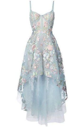 Black High Low Prom Dresses Floral Embroidery Lace Sky Blue Prom Dresses